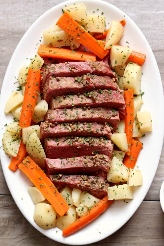 Slow Cooker Corned Beef Dinner with Mustard Sauce - The ...