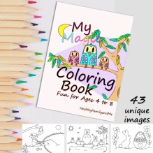 Coloring book for kids A beautiful coloring book with more than 40 unique images from HealthyFamilyandMe.com
