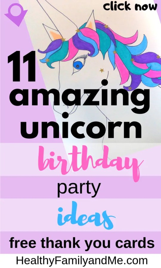 You will love this! 11 Amazing unicorn birthday part ideas. free thank you cards, unicorn pinata, cake, favors, games and more. #unicorn #unicornprintable #unicornbirthday #unicorncake