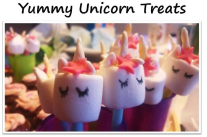Unicorn treats for Birthday Party with unicorn costume, birthday invitation, treats, unicorn cake, birthday games and birthday favors. #unicornparty #birthdayparty #birthdayfavors #unicorncake #pinata