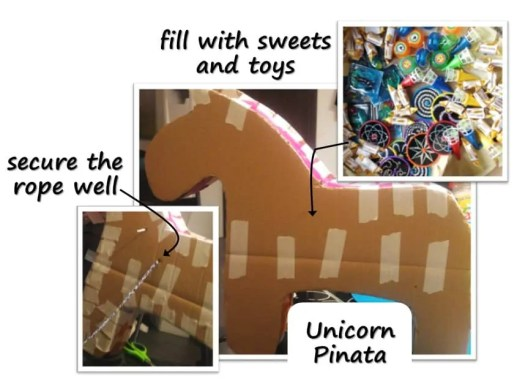 Unicorn Pinata Birthday Party with unicorn costume, birthday invitation, treats, unicorn cake, birthday games and birthday favors. #unicornparty #birthdayparty #birthdayfavors #unicorncake #pinata