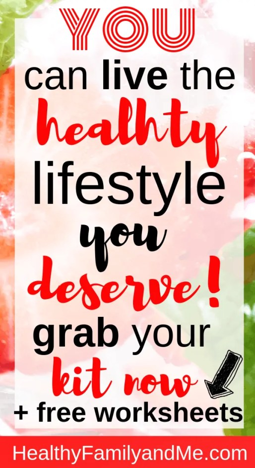 Do you want to start living the healthy lifestyle you deserve! Then grab the healthy living worksheet bundle kit and get a free body cleanse plan. Take action today! #healthyliving #healthylifestyle #eproduct #freeprintable