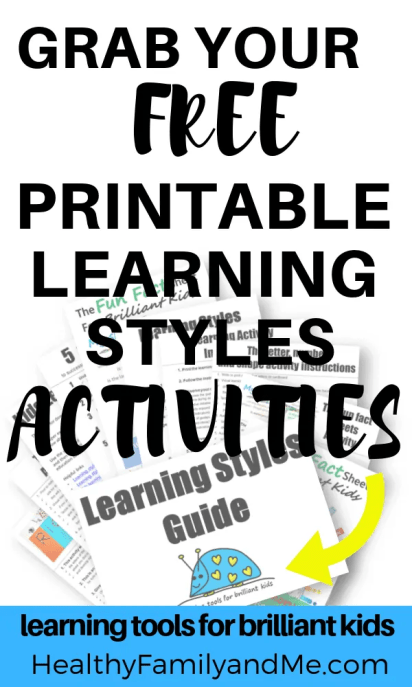 Learning style activities to help your kids learn. grab your kids learning printables now. #kidslearning #education #homeschool #freeprintables