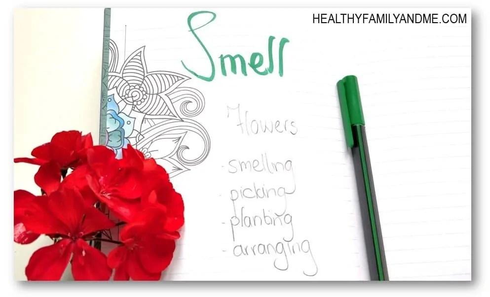 Journal prompts for moms 6 sense self care #journalprompt #momlife #journal #senses #motherhood #selfcare
