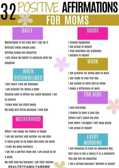 Self affirmations for moms. How to be a good mom and do self care. #momlife #affirmation #selflove #motherhood