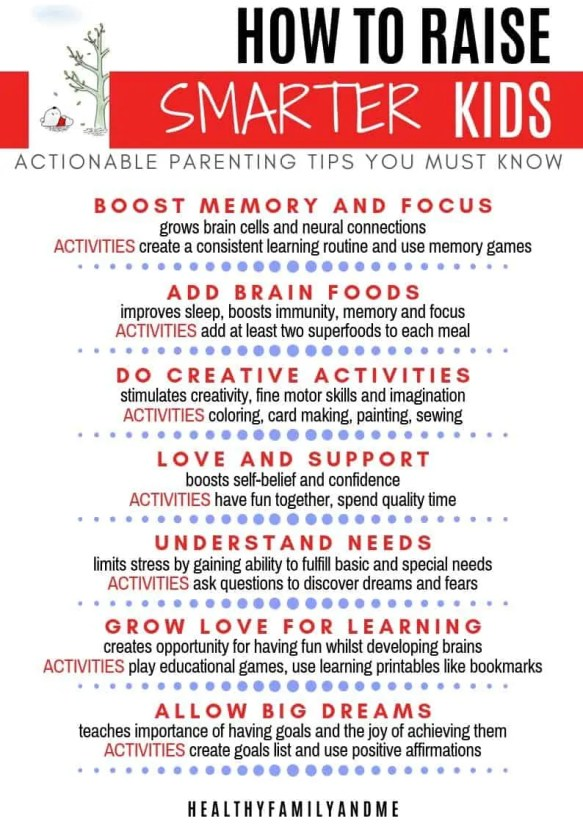 cheat sheet with 7 powerful ways to raise smarter kids with benefits and activities