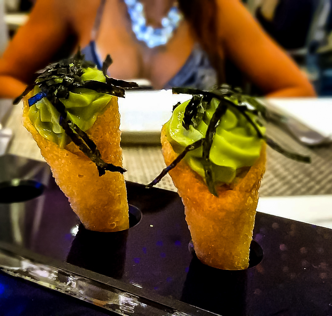 Crab cones with avocado cream, harmony of the seas, wonderland restaurant
