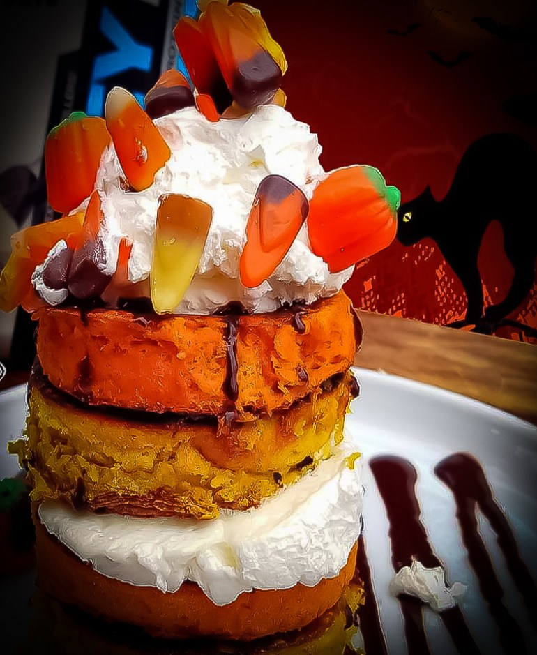 Easy and Delicious Halloween Candy Corn Protein Pancakes Recipe
