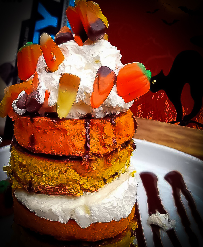 Halloween Candy Corn Protein Pancakes Recipe