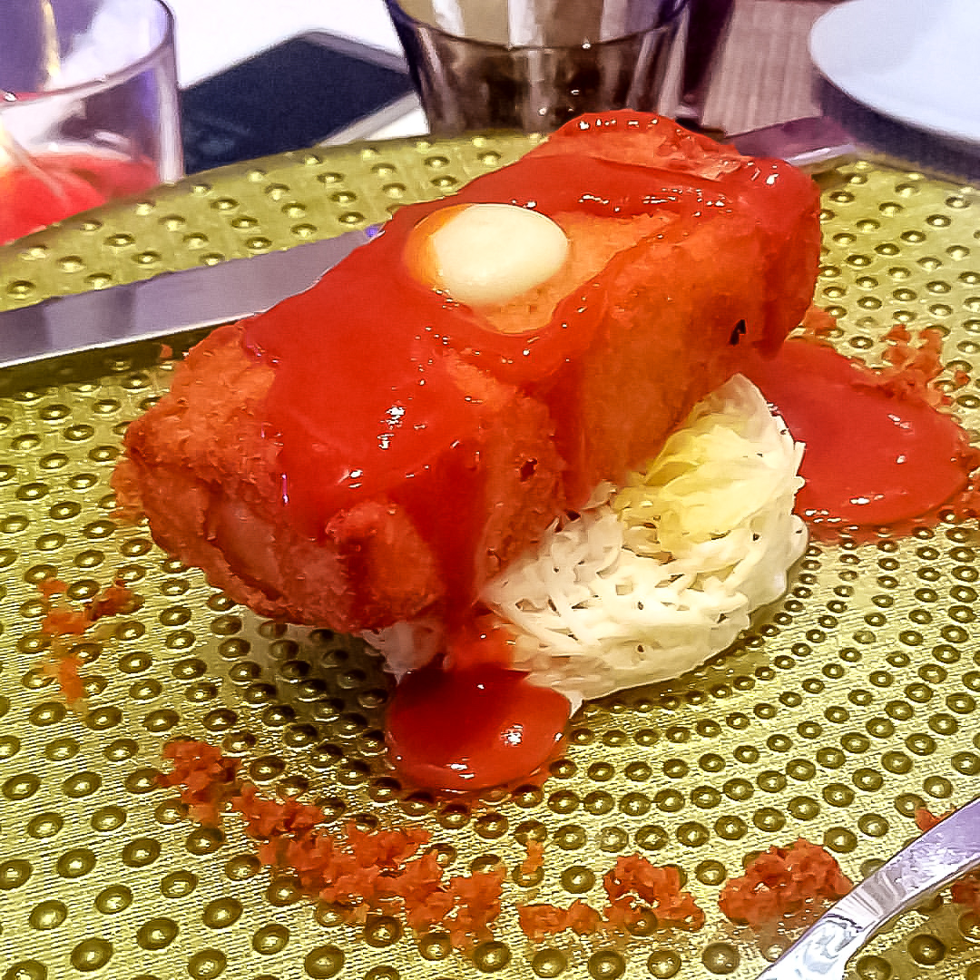 pork belly, harmony of the seas, royal caribbean, wonderland restaurant, cruise dinning