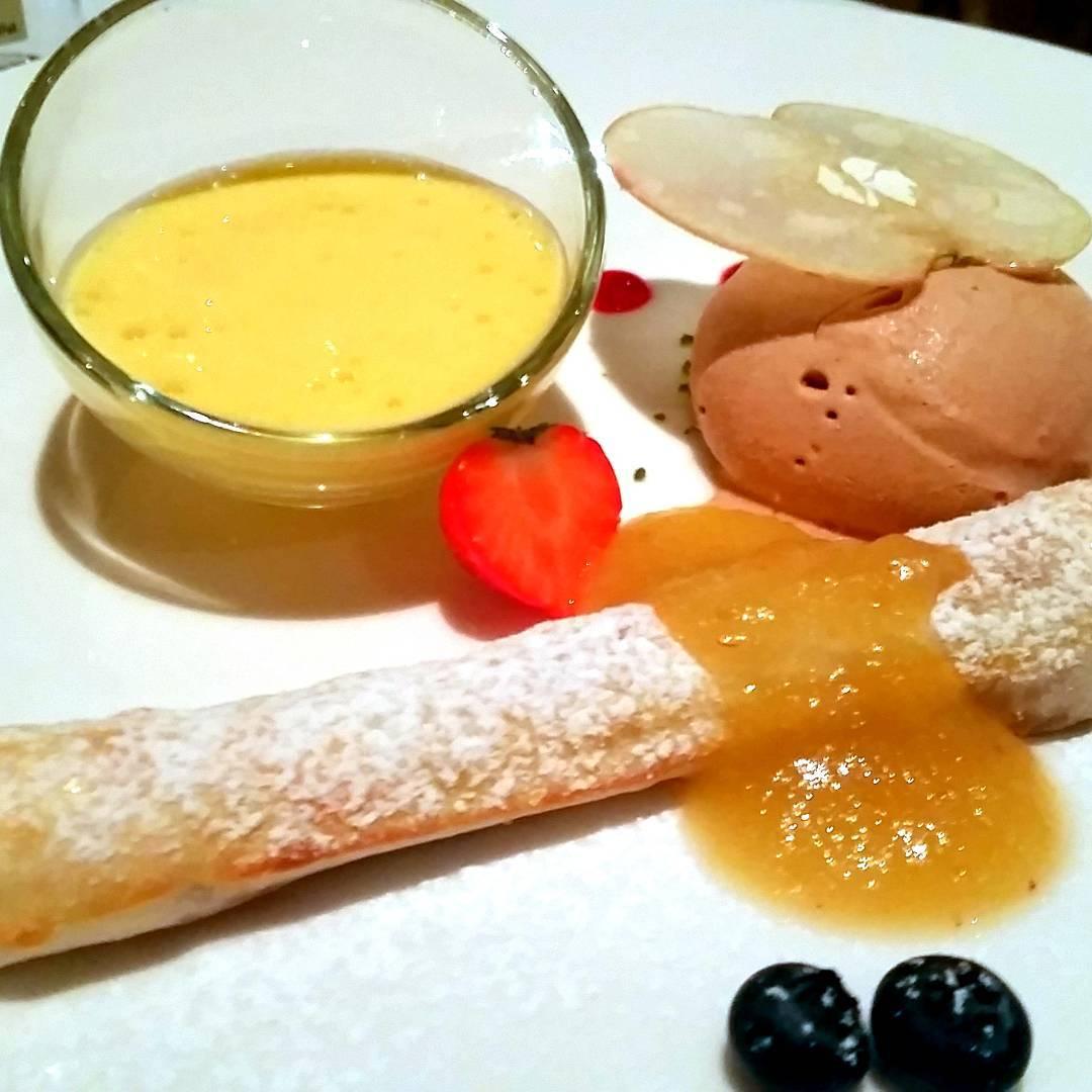 Wintry baked apple strudel with amaretto sabayon and nougat ice cream, belvedere hotel, switzerland