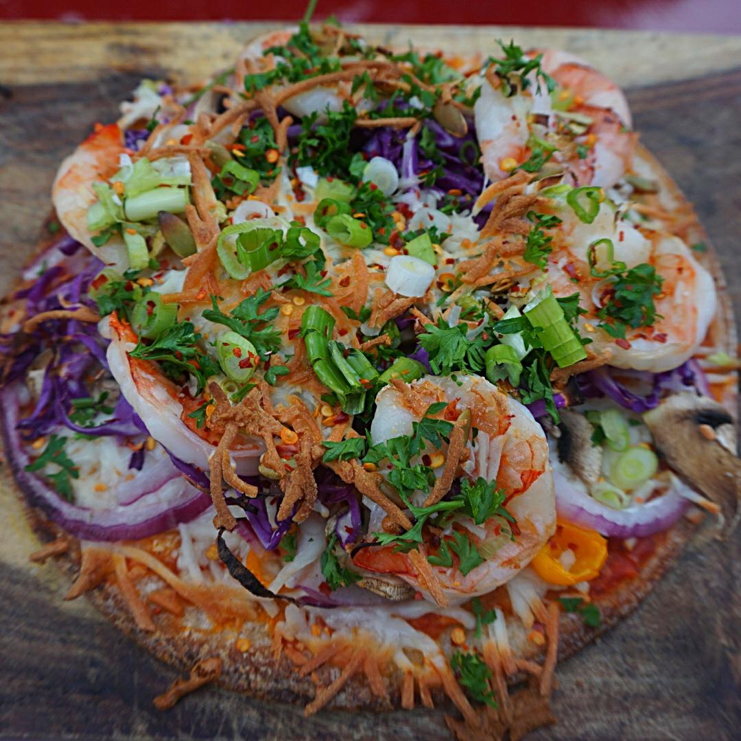 cauliflower shrimp pizza