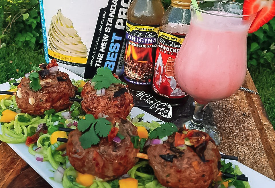 Stuffed Grass Fed Meatballs over Zucchini Noodles in Mango Avocado Sauce