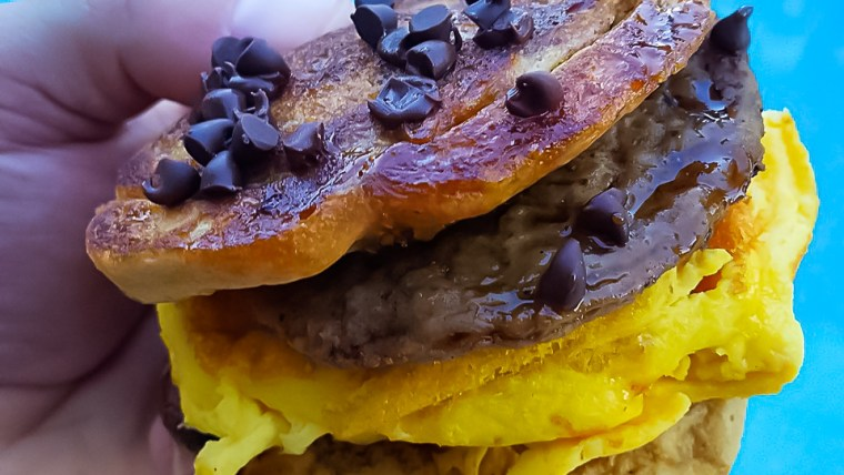 Healthy and Delicious, Protein Pancake Breakfast Sandwich