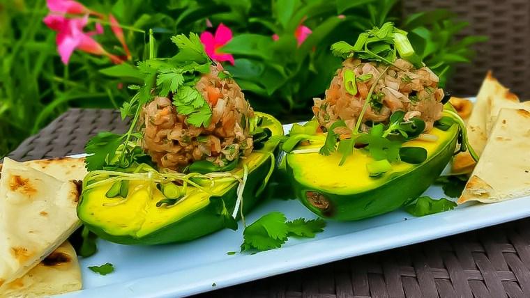 Easy Keto Stuffed Avocado with Tuna Tartare Low Carb Recipe