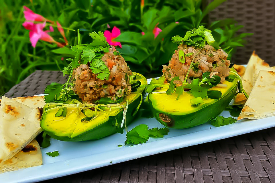 Easy Keto Stuffed Avocado with Tuna Tartare Low Carb Recipe
