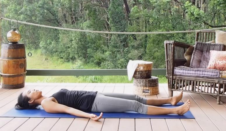Relaxing yoga pose. How to do the perfect corpse position in yoga.