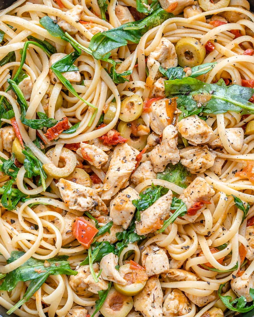 close up of chicken and pasta
