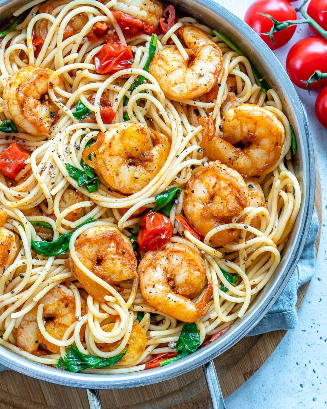 top down shot of Shrimp Spaghetti