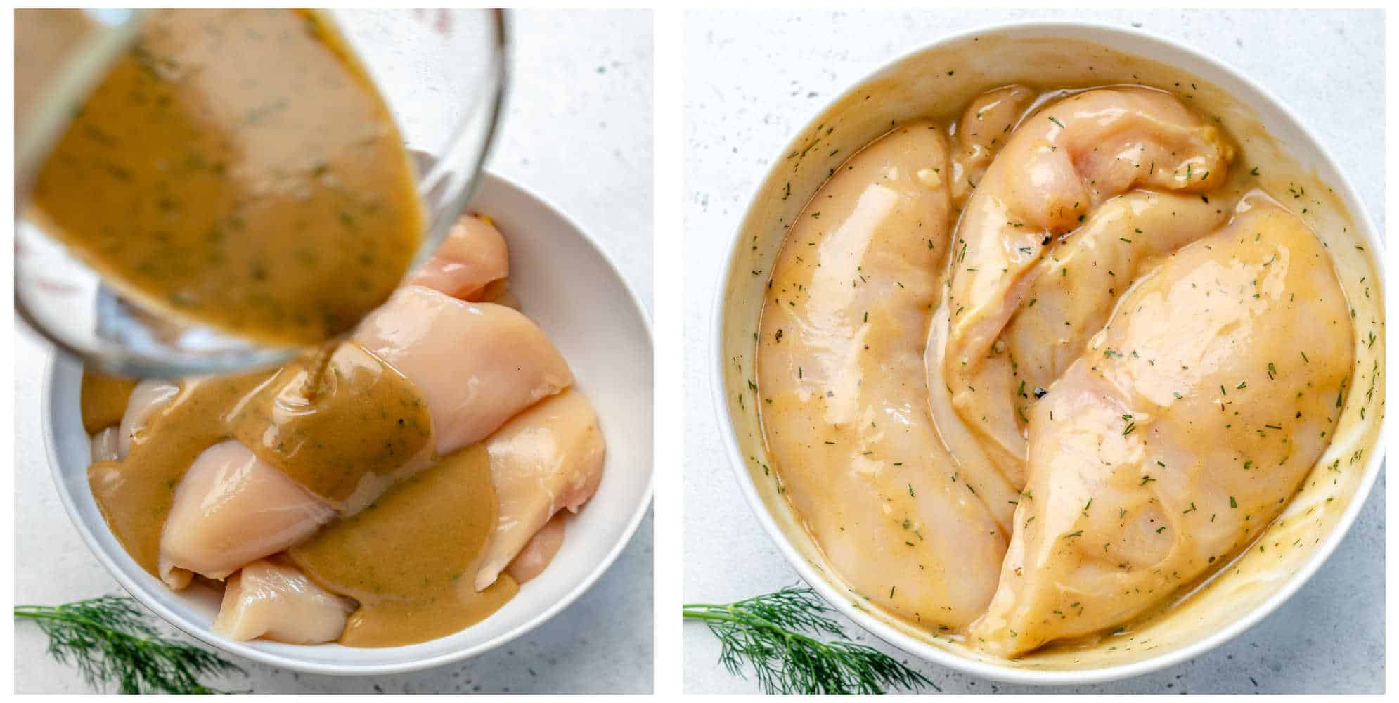 collage or marinated chicken in a white bowl