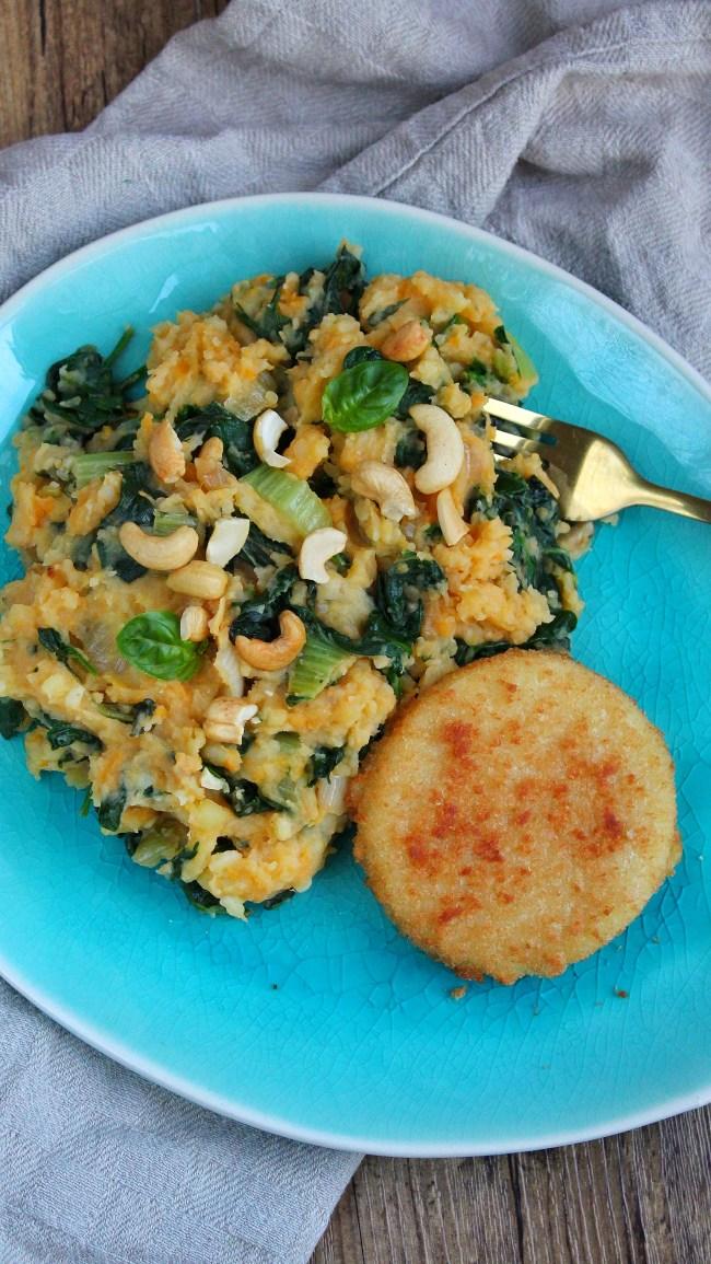 paksoi spinazie stamppot met vegan kaasschnitzel 2