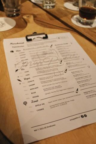 MIss Paddle menukaart