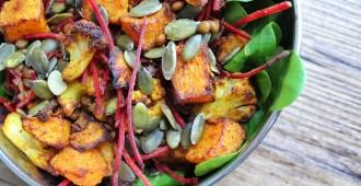 linzensalade met pompoen, bloemkool en zongedroogde tomaatjes boho-tiffin