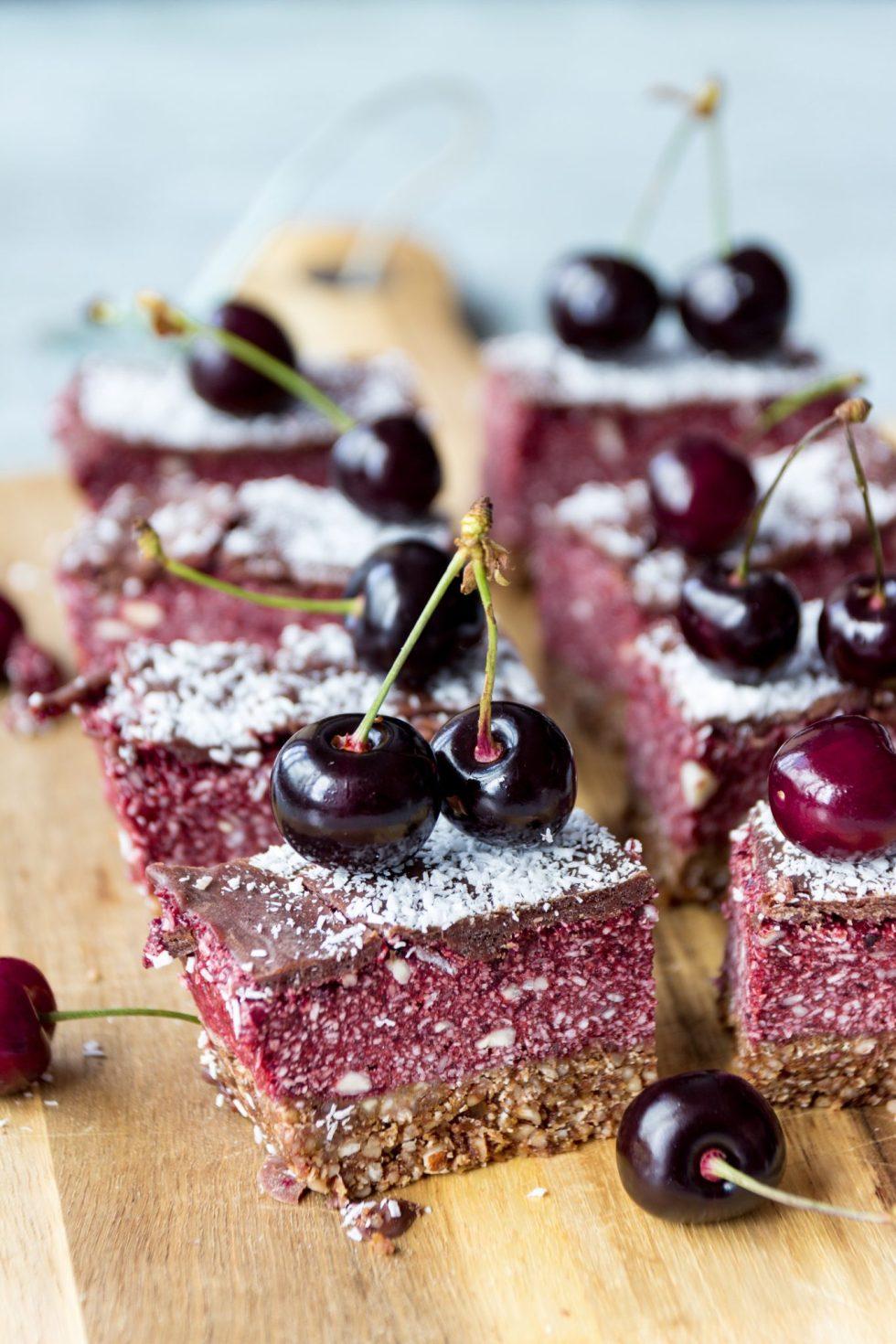 healthy vegan cherry ripe slice recipe