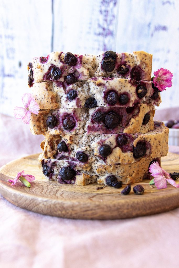 vegan gluten-free blueberry lemon poppyseed loaf