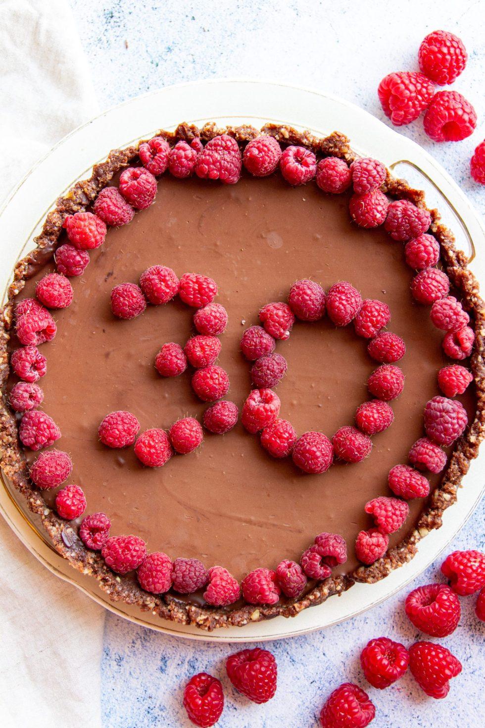 vegan chocolate caramel birthday tart