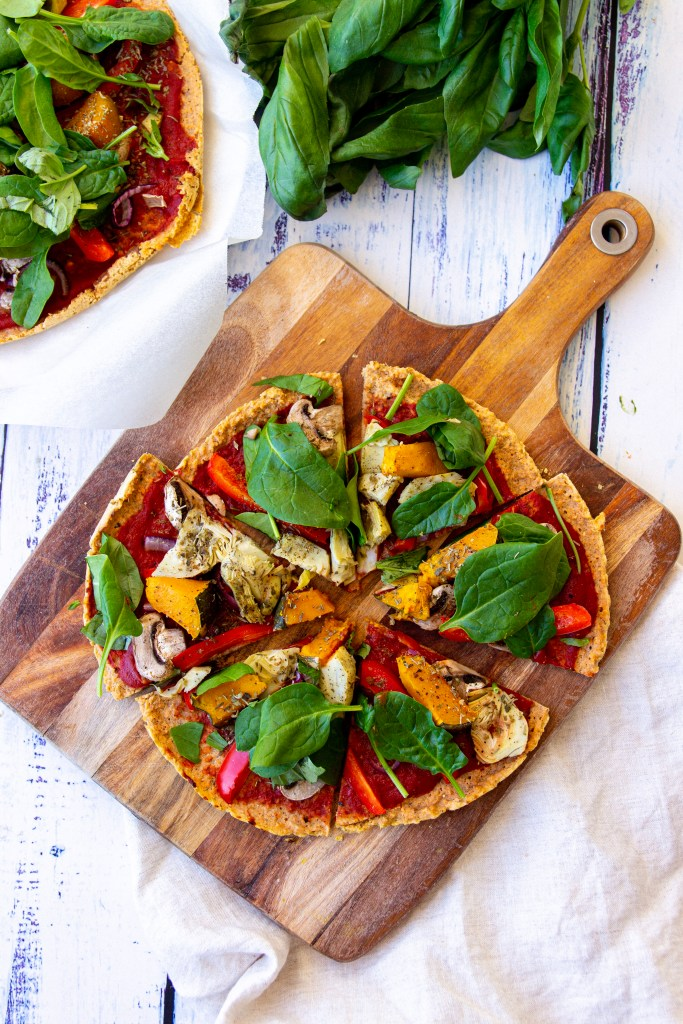 lentil crust vegan pizza