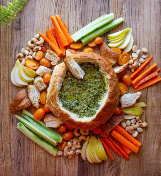 spinach cob loaf platter vegan