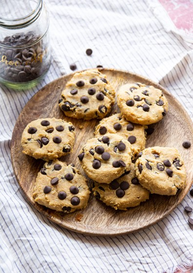 healthy chickpea cookies with peanut butter and chocolate chips