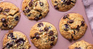 vegan blueberry oat muffins