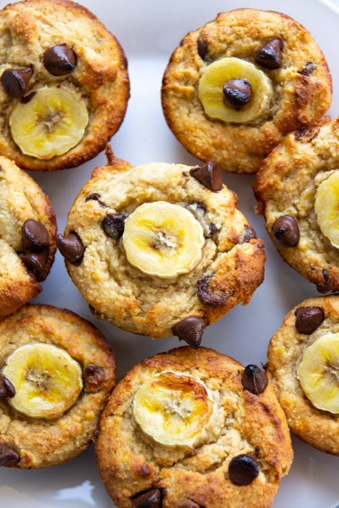 oat chocolate chip muffins with banana