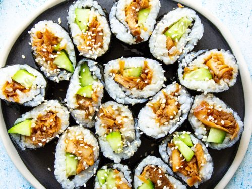 vegan jackfruit sushi