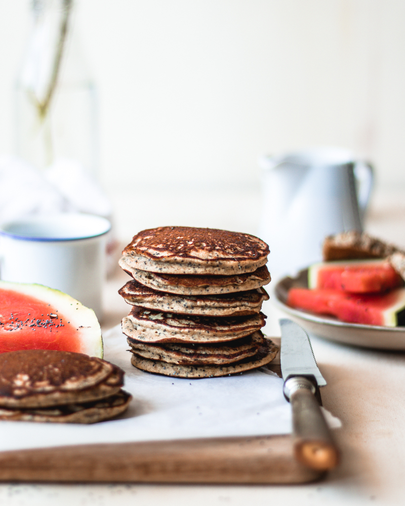 Perfect vegan and gluten free poppyseeds pancakes recipe