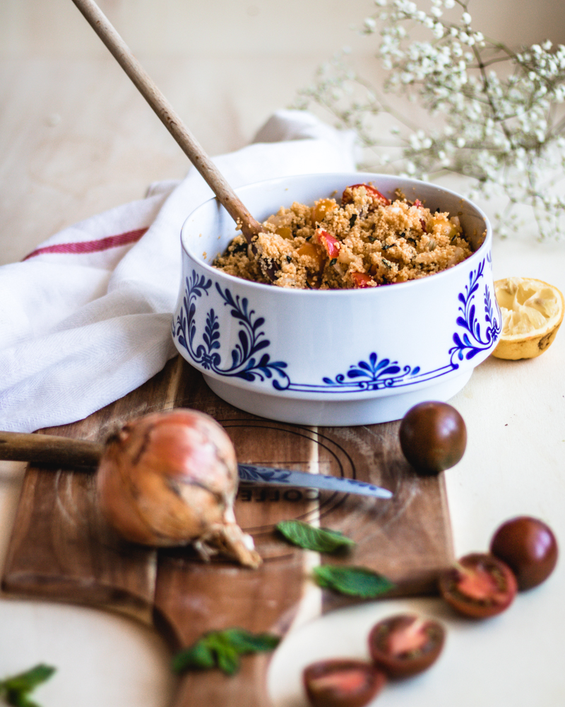 Healthy & Gluten-free no-cook taboule made from legume couscous