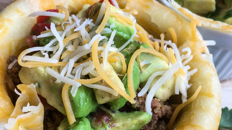 keto taco bowl with avocado salsa