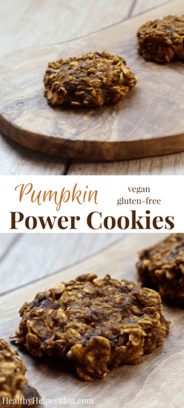 Pumpkin Power Cookies   Healthy Helper @Healthy_Helper Soft-baked cookies filled with whole grain goodness, vitamin C, and fiber! Pumpkin is the star ingredient in these healthy treats and they're full of other nutrient dense ingredients like rolled oats, dried fruit, cinnamon, cocoa, and bananas. Perfect for snacking on-the-go and satisfying your sweet tooth the wholesome way.