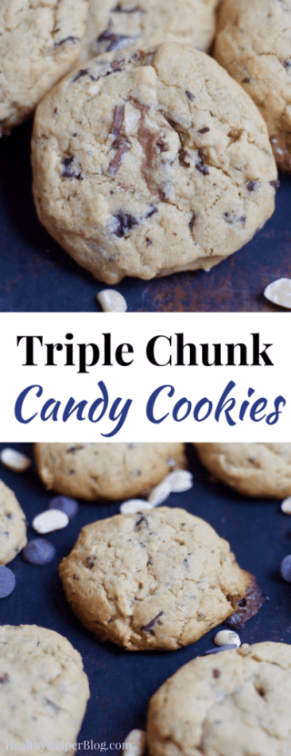 Triple Chunk Candy Cookies | Healthy Helper @Healthy_Helper Deliciously decadent chocolate peanut butter cookies JAM-PACKED with your favorite candies! These Triple Chunk Candy Cookies are the perfect way to ring in the holiday baking season and indulge your sweet tooth in more ways than one. Whole grain, made from REAL FOOD ingredients, and perfect for giving to your family and friends as homemade gifts!