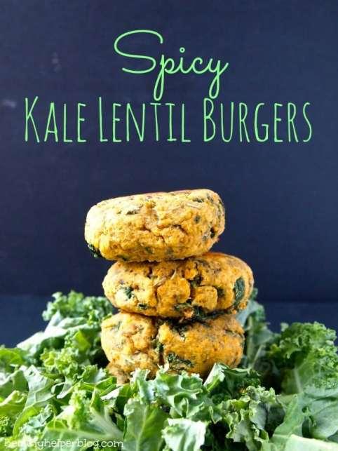 spicy kale lentil burgers