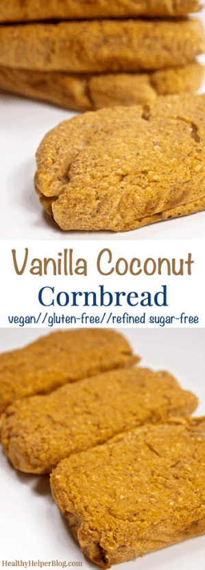 Vanilla Coconut Cornbread via Healthy Helper Blog #recipe #healthy #quickbread #vegan #glutenfree #sugarfree #healthyrecipe #sweet