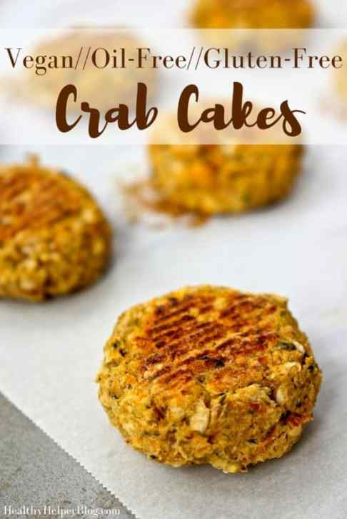 Vegan Crab Cakes from Healthy Helper Blog...gluten-free, oil-free, and totally delicious! The perfect alternative for vegans and seafood lovers alike! http://healthyhelperblog.com?utm_source=utm_source%3DPinterest&utm_medium=utm_medium%3Dsocialmedia&utm_campaign=utm_campaign%3Dblogpost