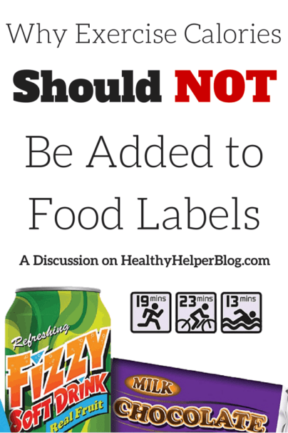 Why Exercise Should NOT Be Added to Food Labels: A Discussion on Healthy Helper Blog http://healthyhelperblog.com?utm_source=utm_source%3DPinterest&utm_medium=utm_medium%3Dsocialmedia&utm_campaign=utm_campaign%3Dblogpost