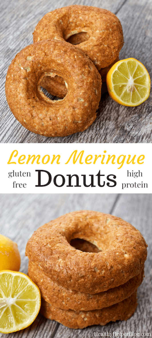 Lemon Meringue Donuts from Healthy Helper...Luscious lemon donuts that are deliciously sweet and ever so subtly tart! Fresh, fruity, and full of protein, these easy to make, gluten-free donuts make the perfect summer snack.