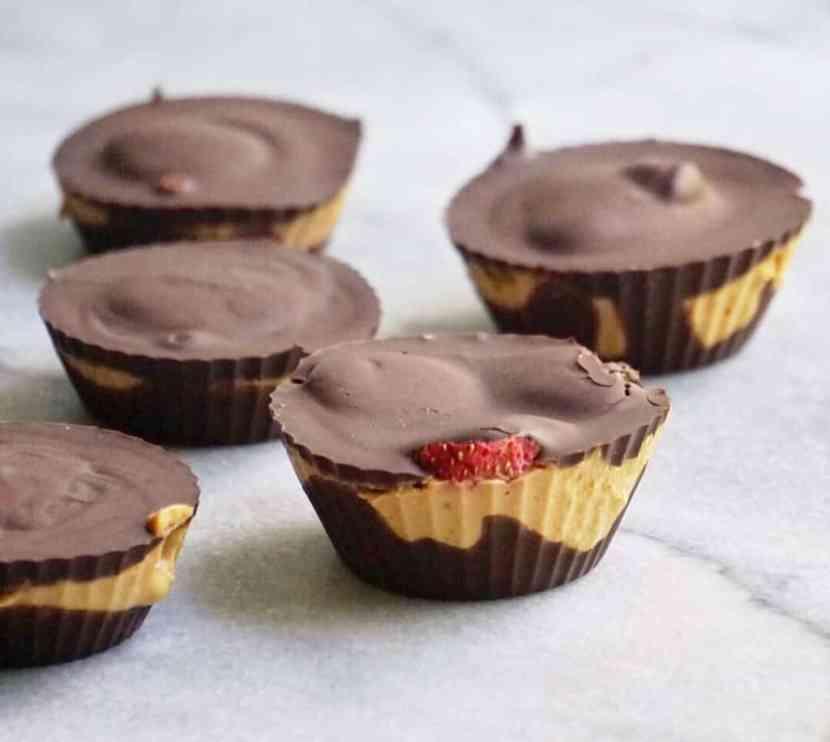 Strawberry-Stuffed Dark Chocolate Peanut Butter Cups   Healthy Helper @Healthy_Helper