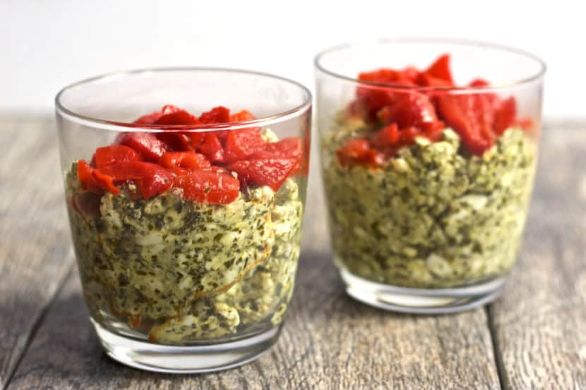 Creamy Vegan Pesto Dip with Roasted Red Peppers | Healthy Helper @Healthy_Helper