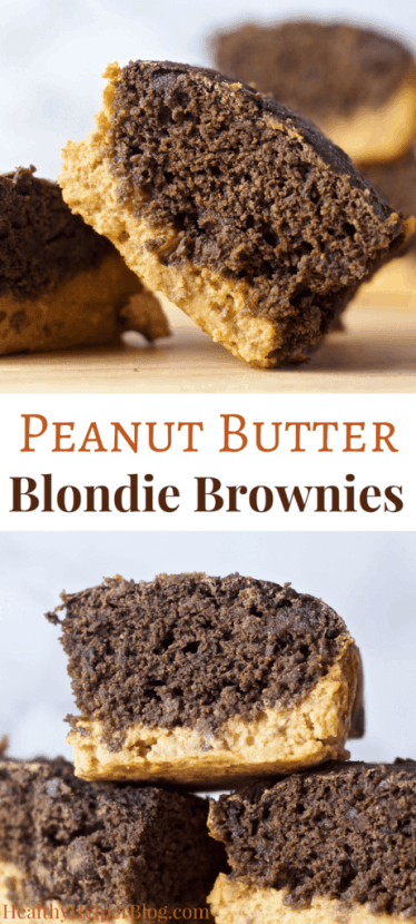 Peanut Butter Blondie Brownies | Healthy Helper @Healthy_Helper The best DOUBLE DESSERT you'll ever have! Luscious peanut butter blondies meet decadent chocolate chunk brownies in this amazing dessert recipe. Vegan, gluten-free, and date-sweetened...these are the sweet treat you can feel great about indulging in!