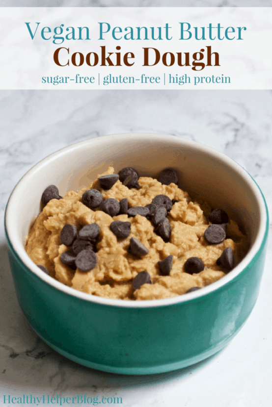 Vegan PB Chocolate Chip Cookie Dough | Healthy Helper @Healthy_Helper The ultimate edible cookie dough for vegans and non-vegans alike! This high protein, single-serve recipe is gluten-free, grain-free, and sugar free. It's full of chocolate chips and perfect for when your cookie cravings strike!